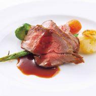 牛モモ肉のグリヤード 根菜類のロースト和風レフォールソース