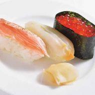 寿司3点盛り鮭炙りつぶいくら